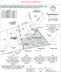 A map from a land condemantion lawsuit.