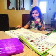 Jimena Garza, 7, virtually attending her social studies class Monday, Sept. 28, 2020. Progress Times photo by Jose De Leon III