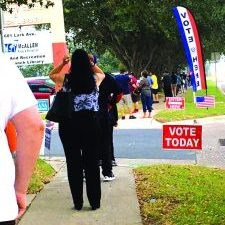 The line of people waiting to vote outside the Lark Community Center in McAllen Tuesday, Oct. 13, 2020. Courtesy photo.