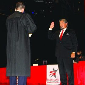 Alejandro Rodriguez at his swearing in ceremony for the Sharyland School board of Trustees Monday, Nov. 16, 2020. Courtesy photos.