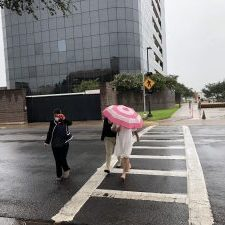 Veronica Ortega, 45, of McAllen covered her face with an umbrella as she left the federal courthouse on Tuesday afternoon. (Photo by Dave Hendricks / The Progress Times.)