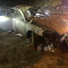 The silver Chevrolet Impala crashed on Abram Road south of West Mile 6 Road. Two people died and five people were injured. (Photo courtesy of the Texas Department of Public Safety.)