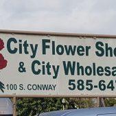 city flower shop sign
