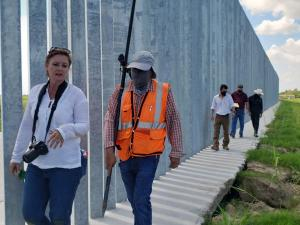 Inspection of privately-built border wall
